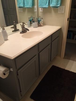 Matching bathroom vanity across the hall.